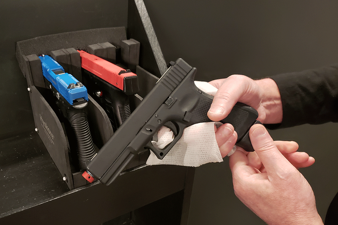 Keeping virtual shooting equipment clean